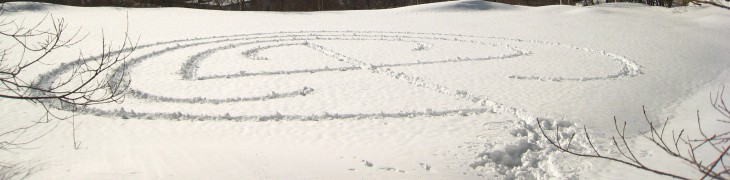Labyrinth in the snow in Shigakogen